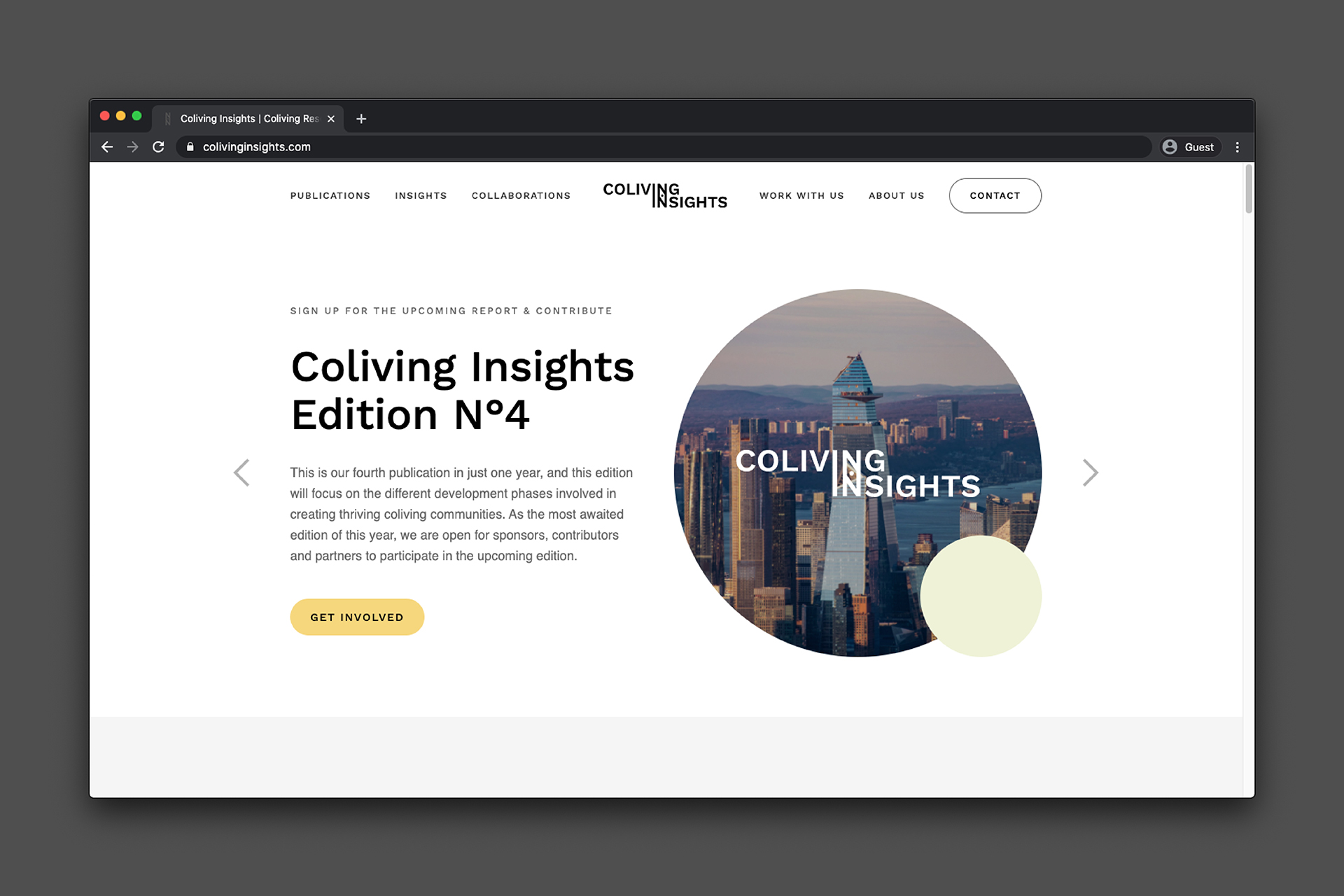 Coliving Insights Website design: homepage by Spatial Experience