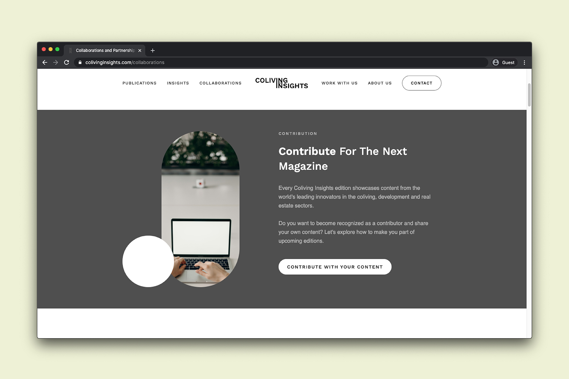 Coliving Insights Website design: collaborations
