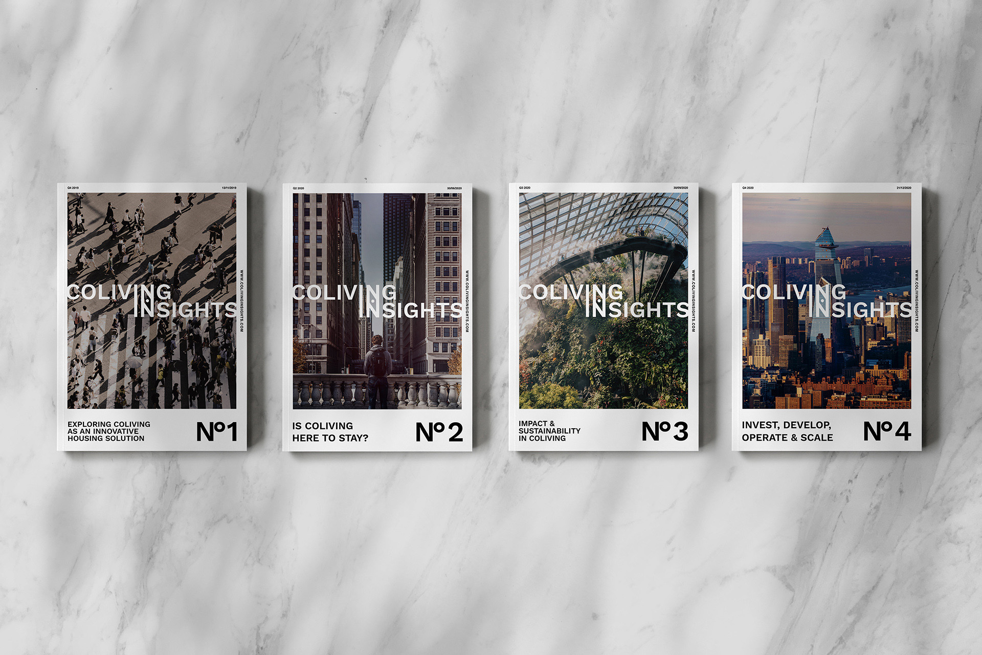 Coliving Insights First four Publications cover mockups by SPX Agency