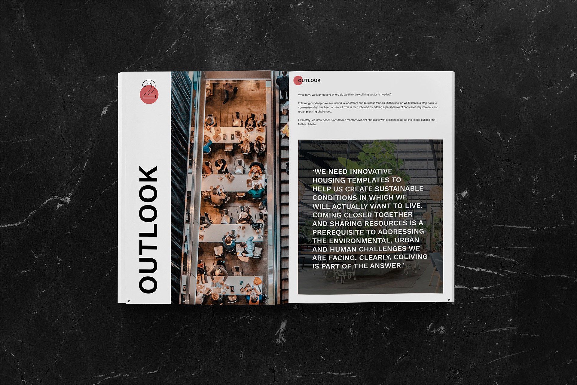 Coliving Insights Publication Interior page mockup of Outlook by SPX Agency