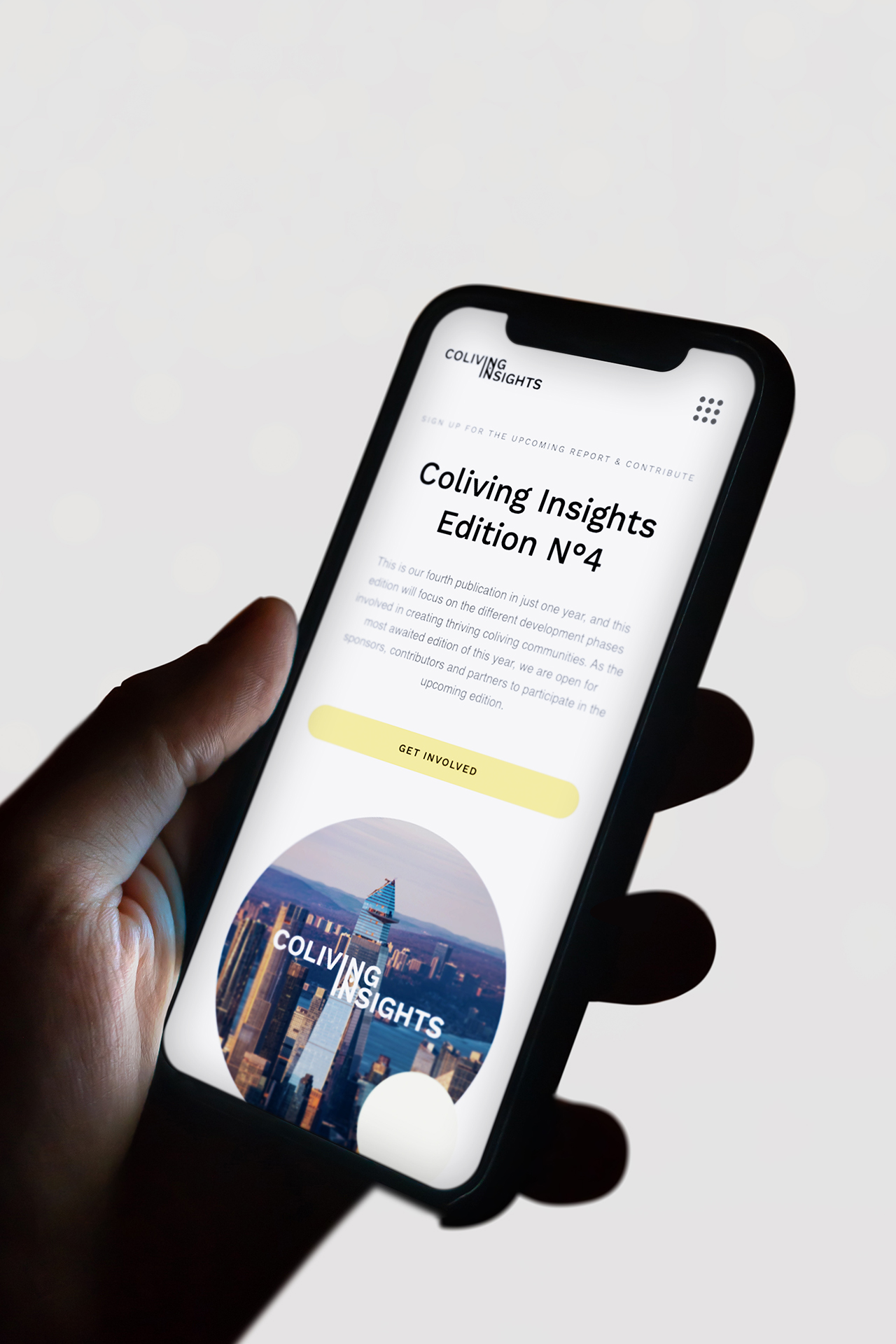 Iphone mockup of mobile version of the Coliving Insights website by Spatial Experience