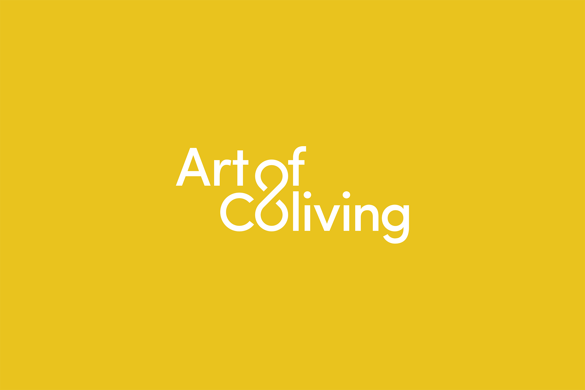 Art of Coliving white logotype by SPX on a yellow background