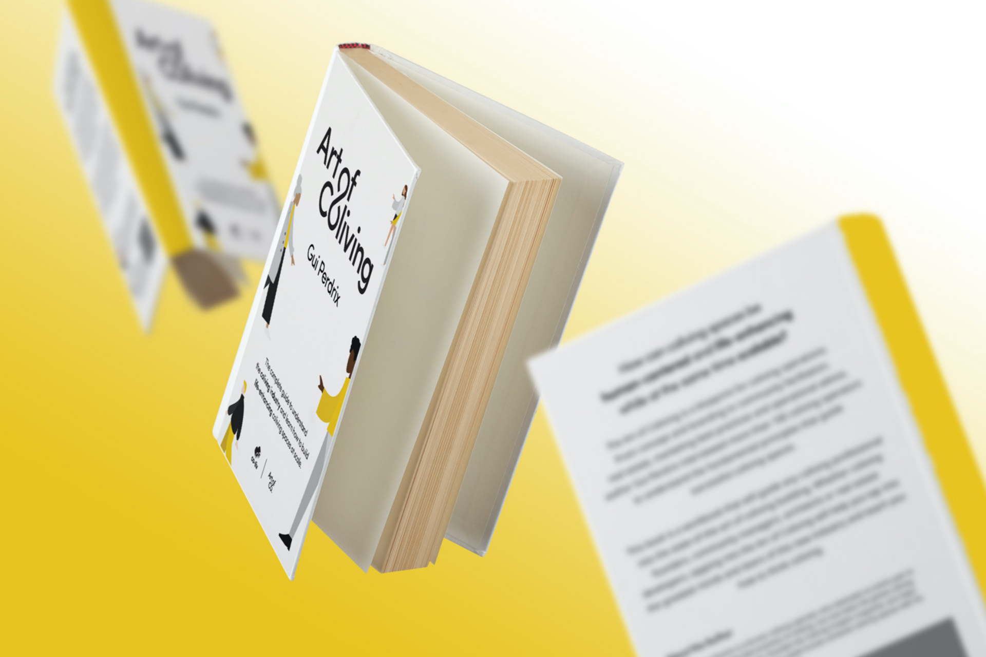 Art of Coliving book mockups by SPX with yellow background