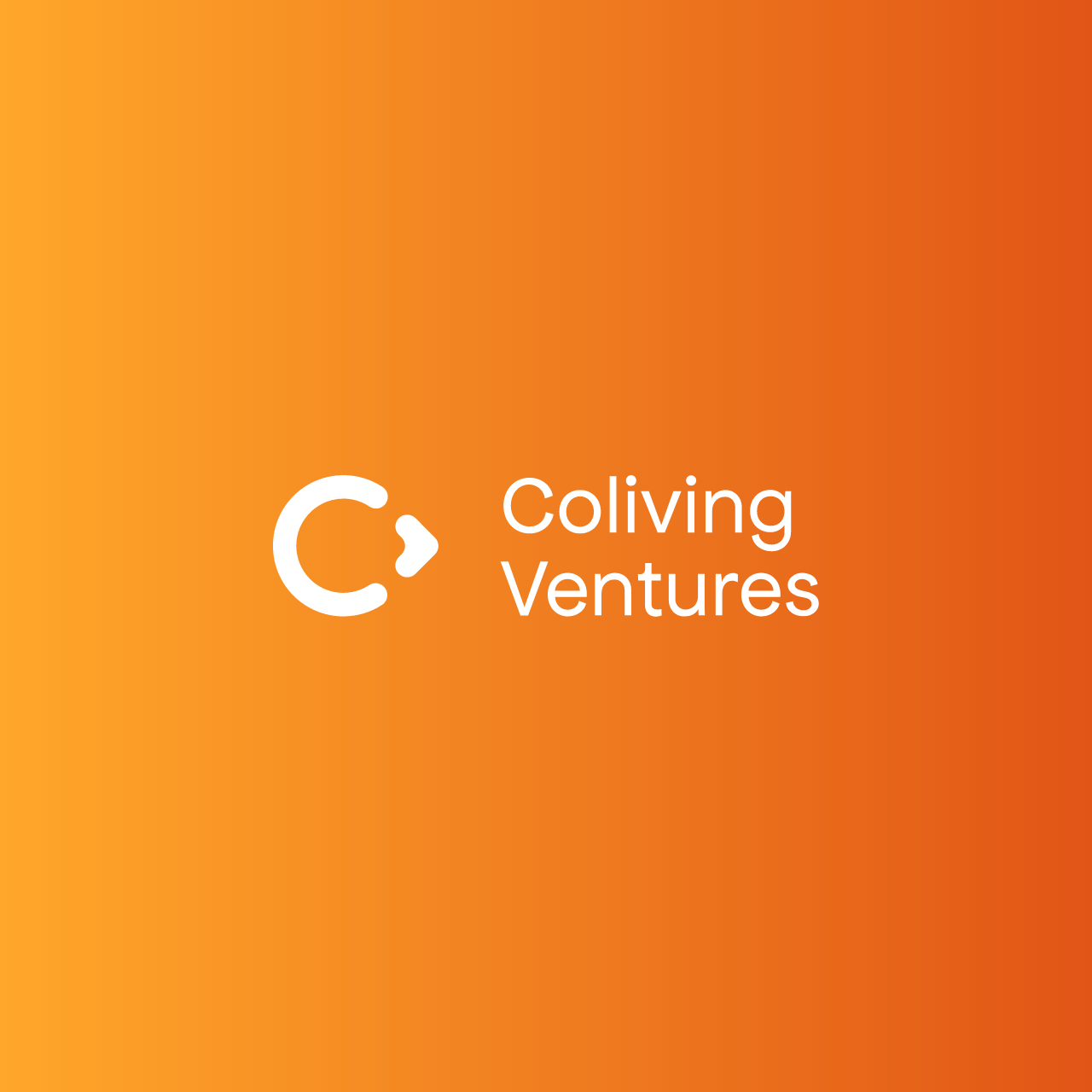Coliving Ventures White logotype with orange background by SPX Studio
