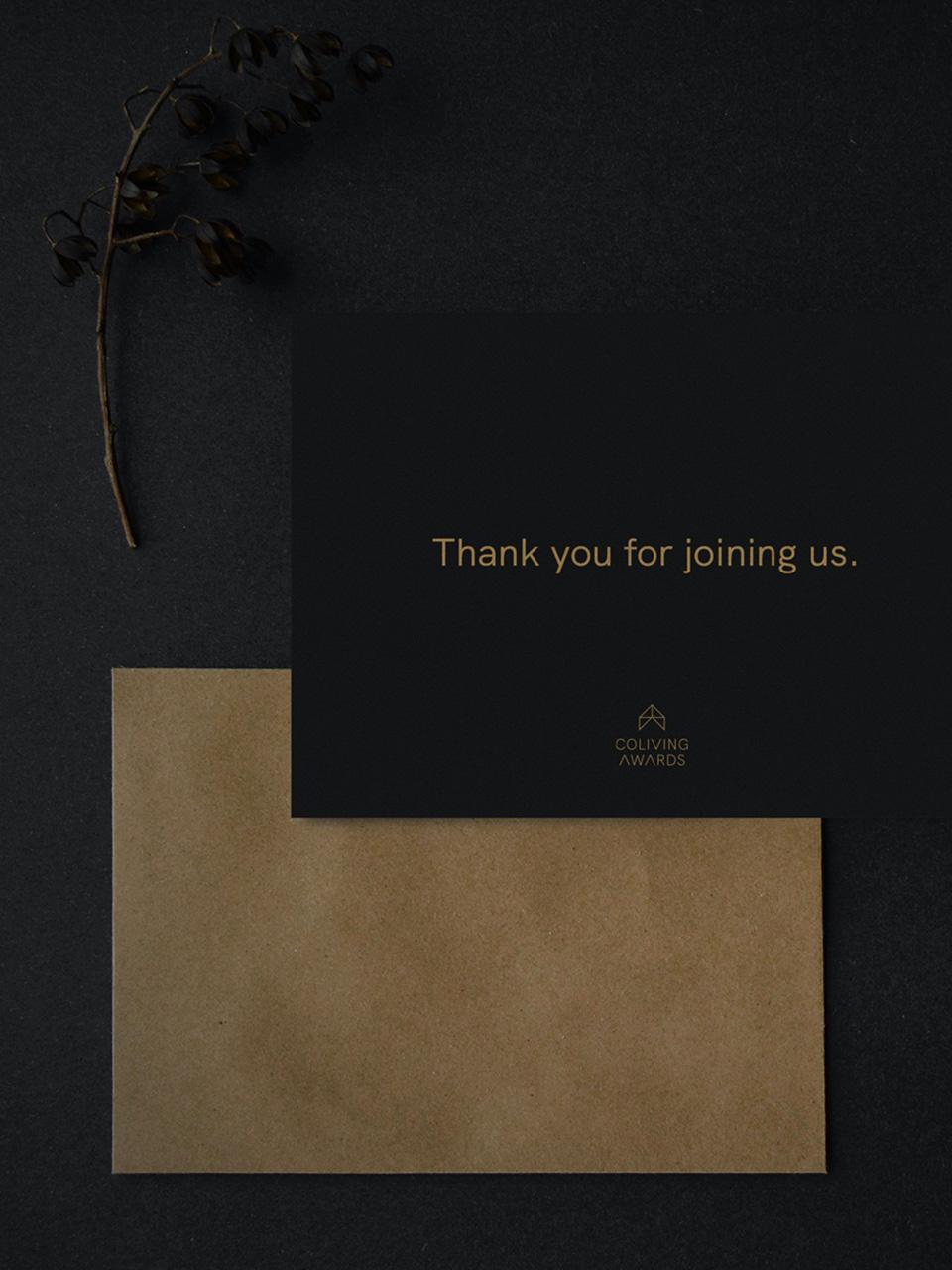 """Coliving Awards """"thank you letter"""" stationery mockup design"""