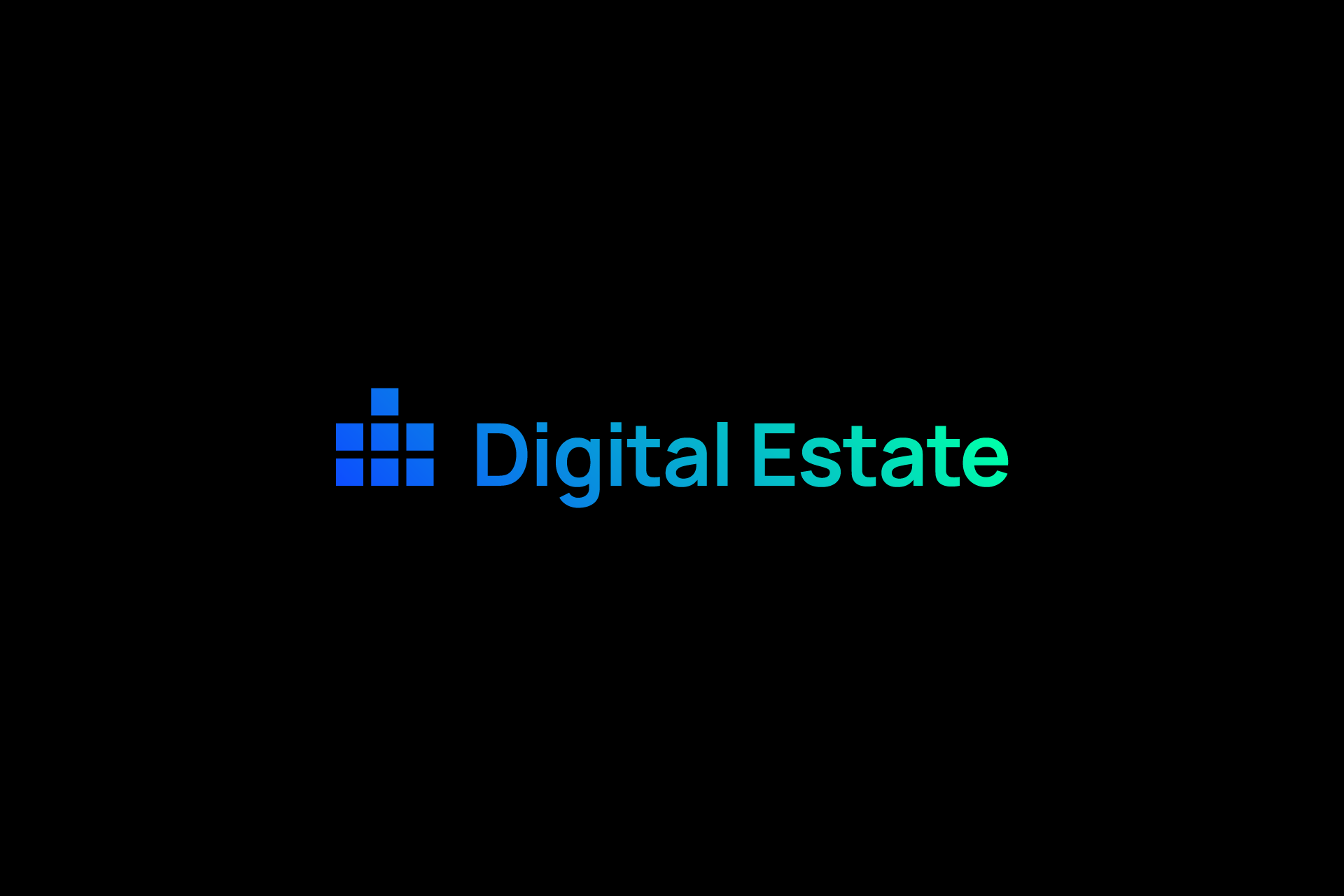 Digital Estate Blue/Green Logotype with black background - wide banner
