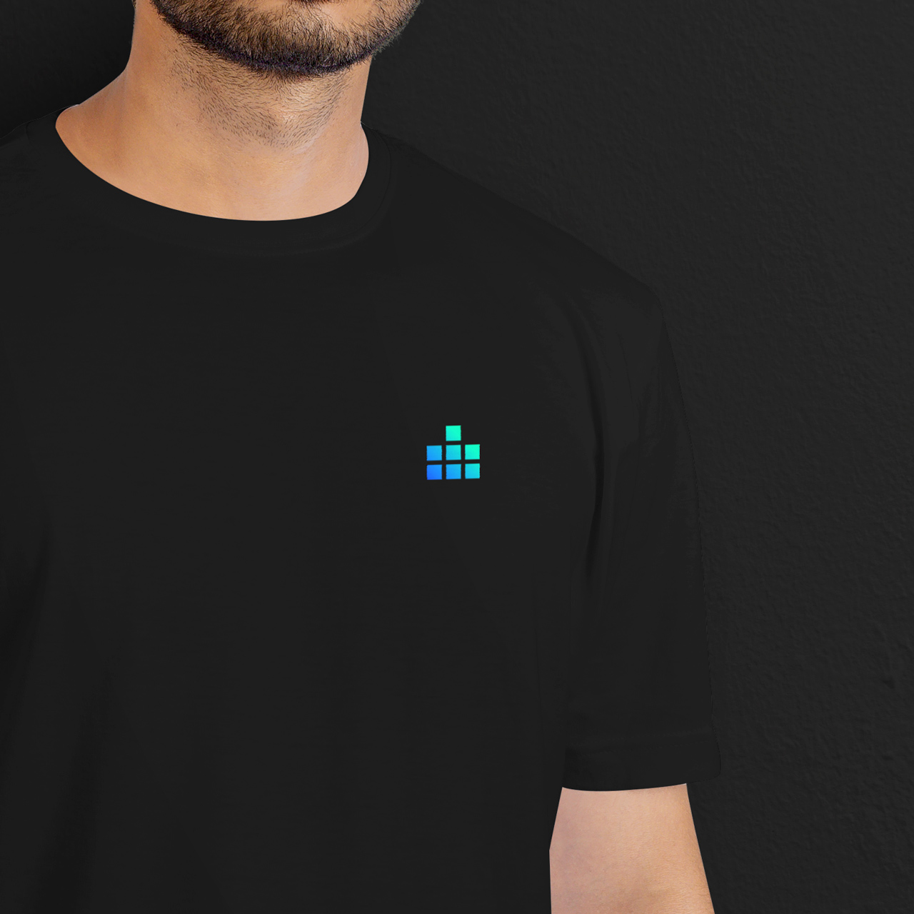 Digital Estate merchandising: black t-shirt with pocket logo by SPX