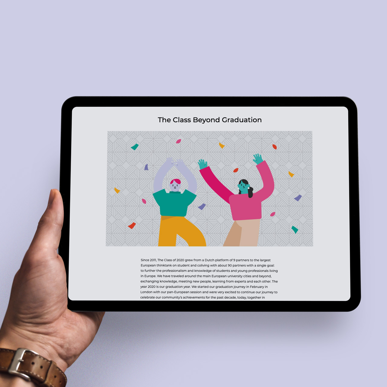 The Class of 2020 Digital Trend Report mockup application on a tablet