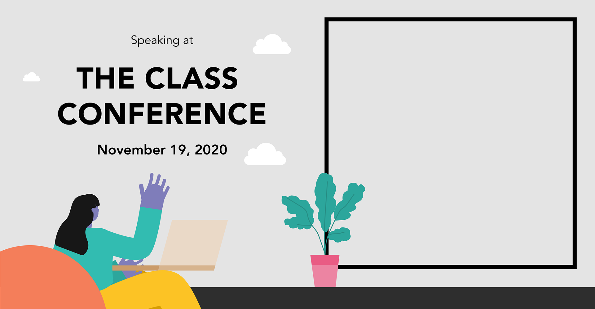 The Class Conference social media template for speakers with placeholder for photo by SPX