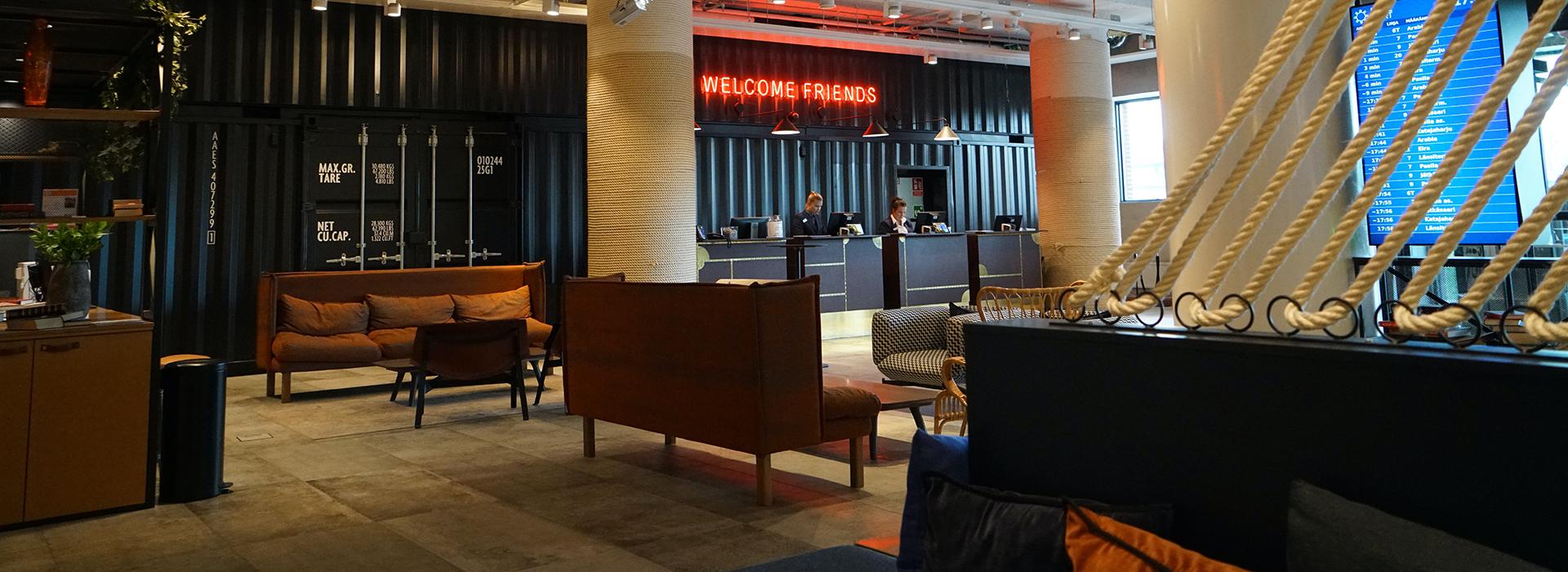 lounge at Radisson Blu Hotel in Helsinki, Finland