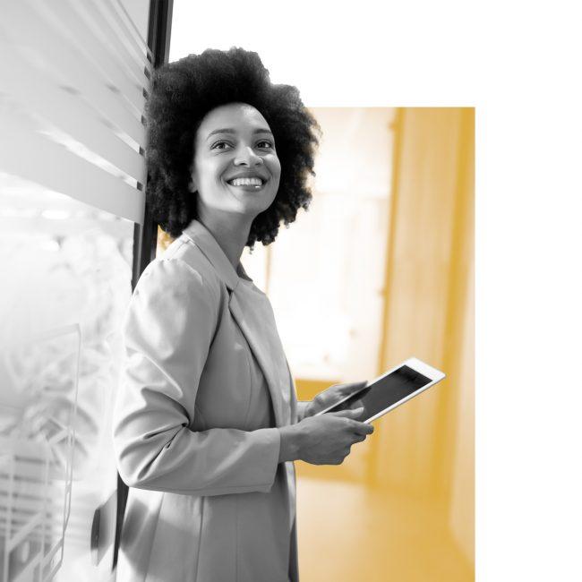 SPX Agency Lab: gig economy, female businesswoman smiling