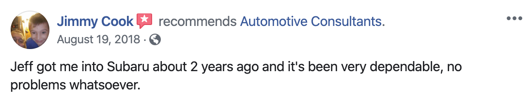 Google review for Automotive Consultants from Jimmy Cook after purchasing a used Subaru