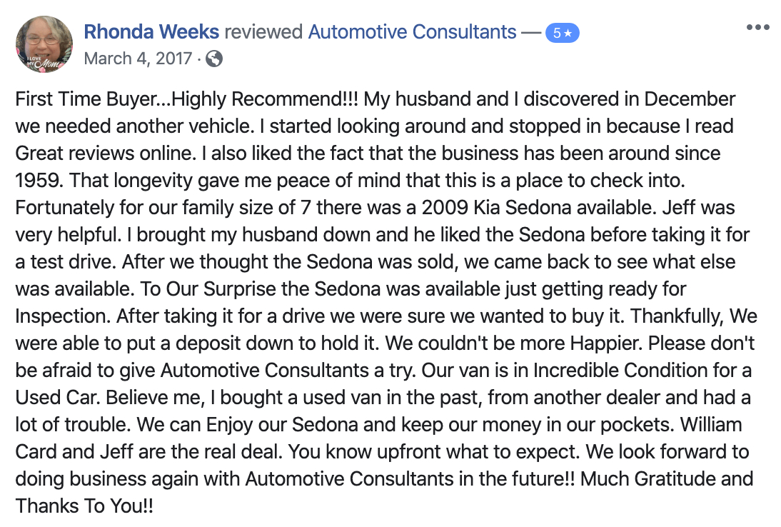 A Facebook 5 Star review for Automotive Consultants and William Card by customer who purchased a used van