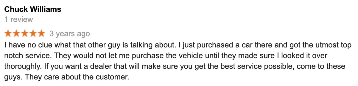 "A review by Chuck Williams recommending Bill Card and Automotive Consultants after buying a car there saying ""If you want a car dealer that will make sure you get the best service possible, come to these guys."""
