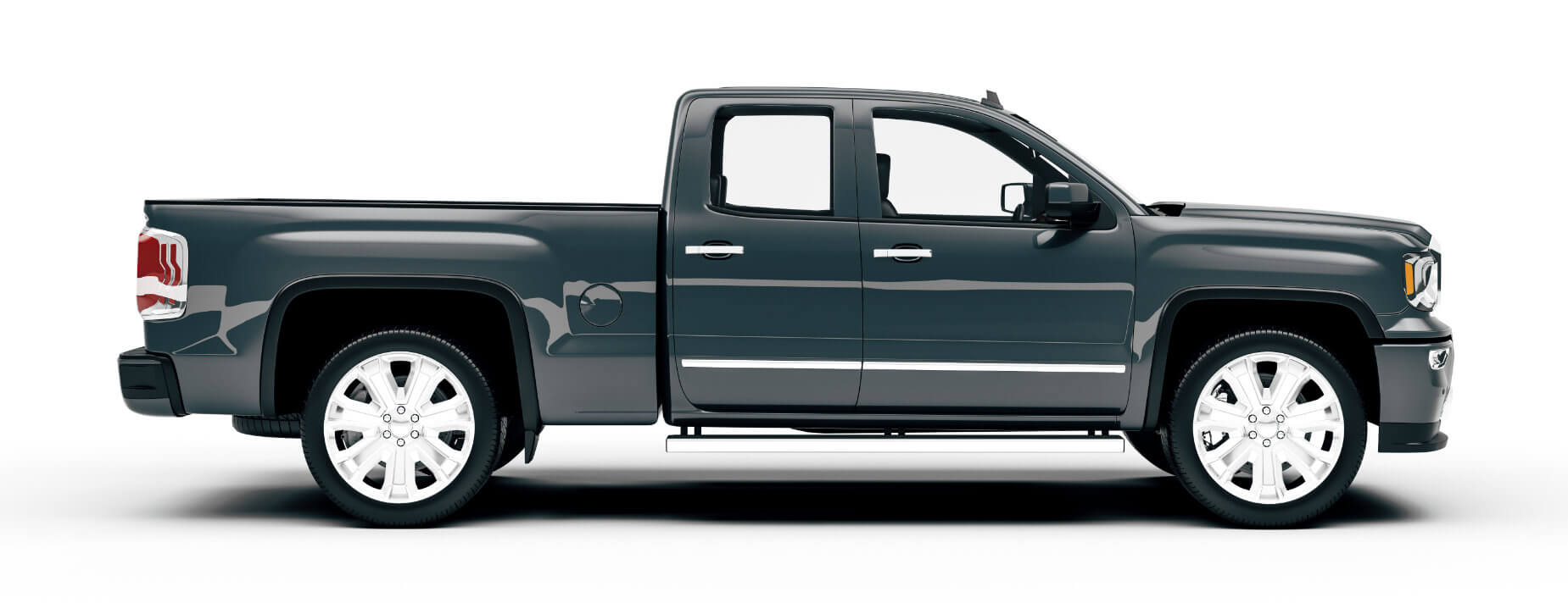 Side view of a new grey truck