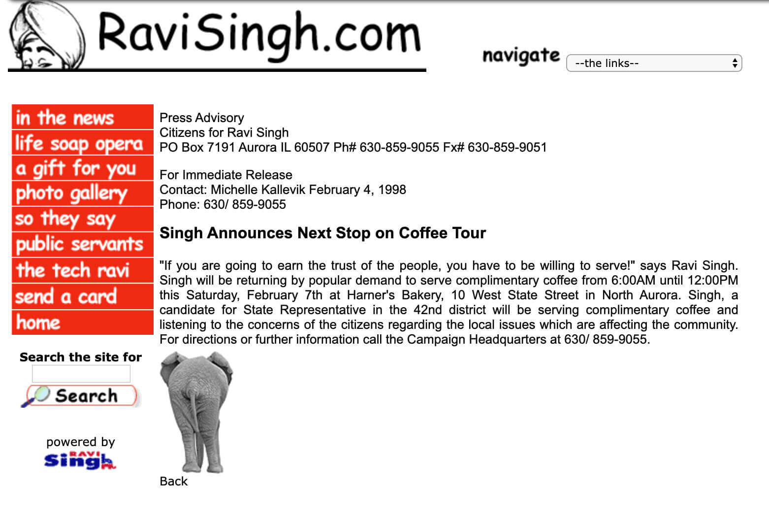 Singh Announces Next Stop on Coffee Tour