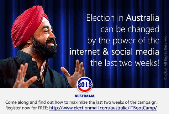 Ravi Singh addresses people at the first Microsoft Election Boot Camp in Australia Elections promoting the power of the Internet and social media. He addressed the topic of the power social media has on election campaigns. It's never too late for social media campaigns to sway supporters.