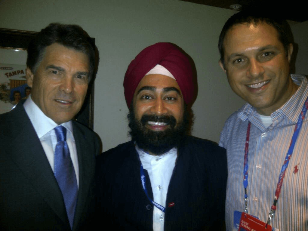 Ravi Singh meets the Governor Rick Perry with best friend Brian Goodger.