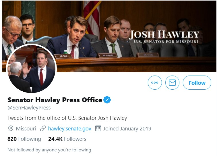 Sen. Hawley WritesTwitter CEO