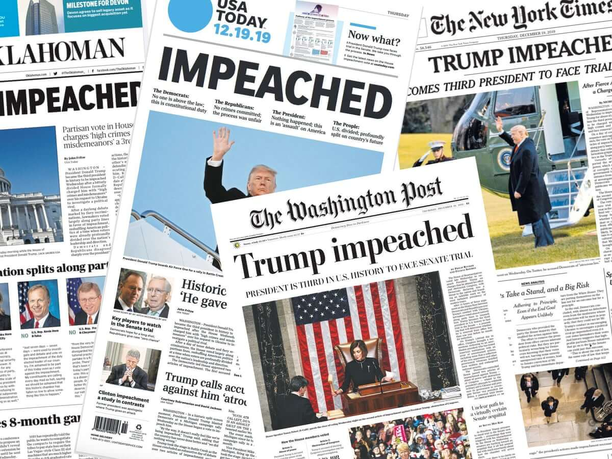 Trump Impeached in A Mostly Party-Line Vote in The House of Representatives