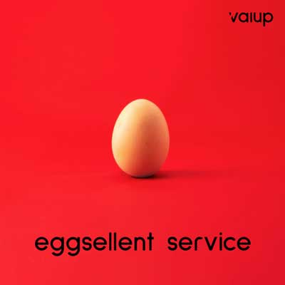 Egg on red background.