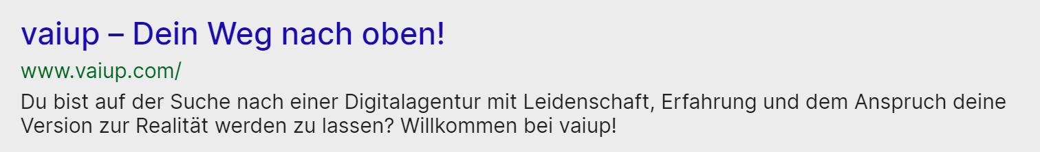 Der Meta-Titel und die Meta-Beschreibung der deutschen Seite von vaiup.com.