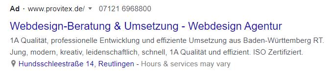 Ein Screenshot einer Werbeanzeige auf Google.
