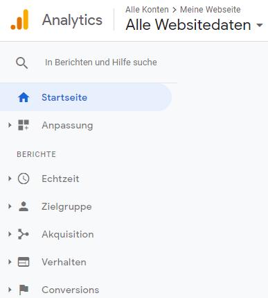 Ein Screenshot der Sidebar und Navigation von Google Analytics.