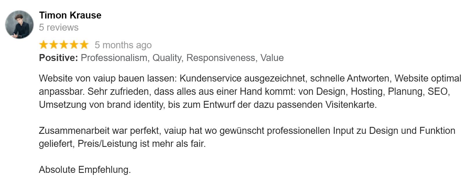 Screenshot einer Review auf Google Business.