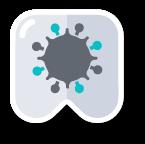 pictogram zoals Tandarts Heusden deze gebruikt in verband met het Corona virus