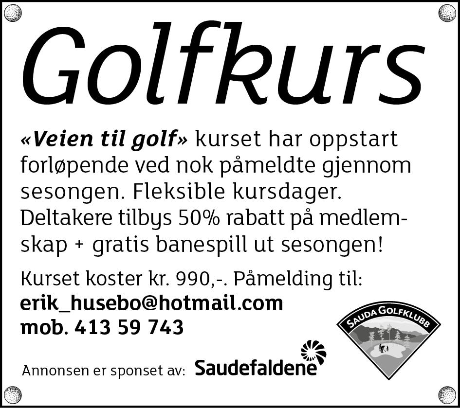 Golfkurs annonse