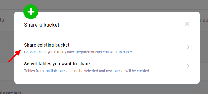 share an existing bucket