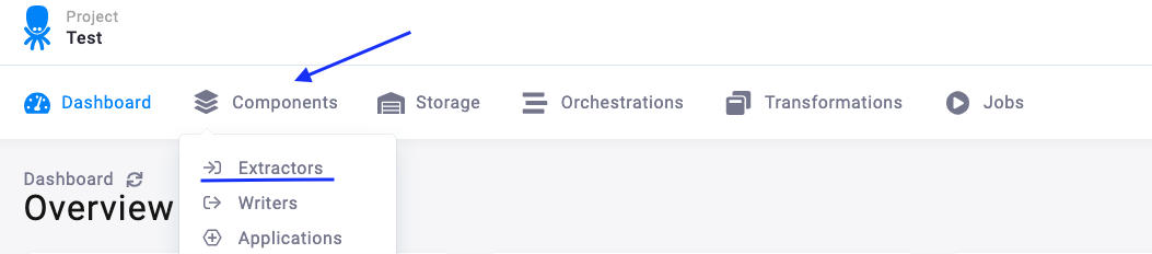 project screenshot top bar with components