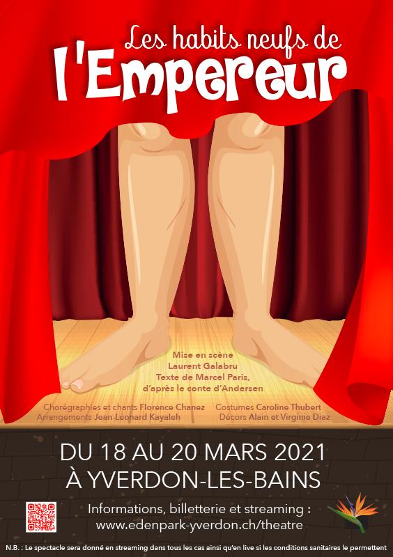 Affiche de la pièce de théâtre d'Edenpark - Les habits neufs de l'Empereur