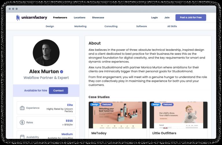 unicorn Factory profile page screenshot