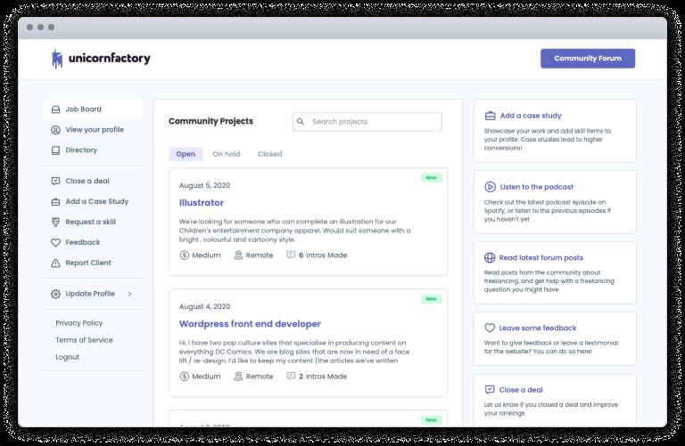 Unicorn Factory Job Board Screenshot