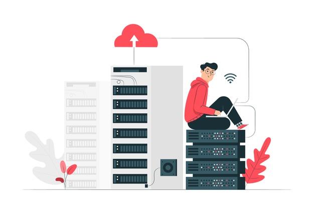 Cloud hosting concept illustration Free Vector