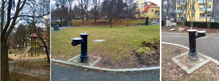 Dricksfontän i park Upplands Väsby