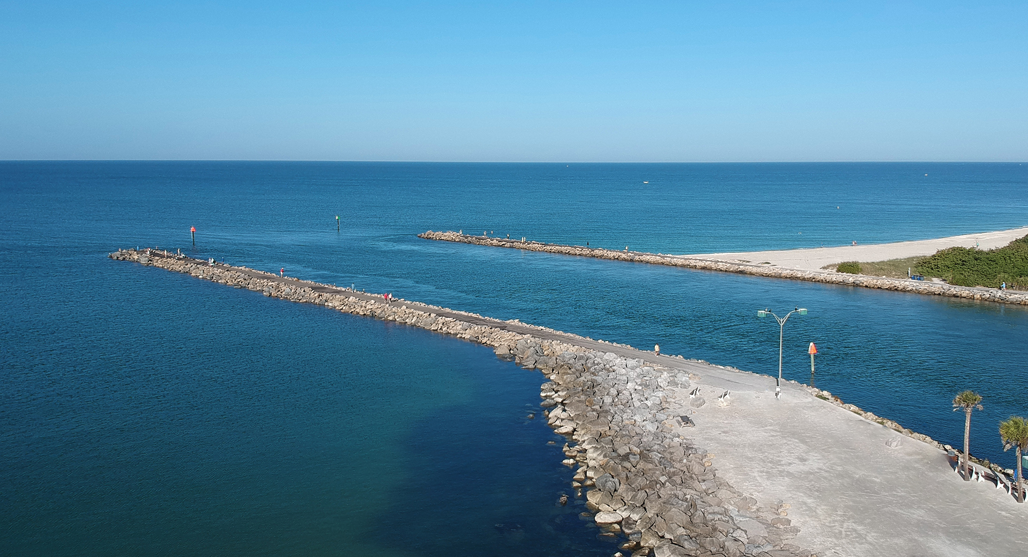 Aerial of harbor entry point at Suncoast Florida