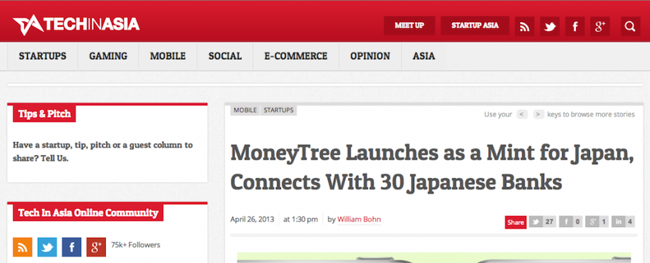 William Bohn Covers Moneytree on Tech In Asia