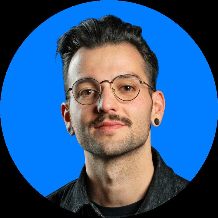 Portrait man glasses, blue background