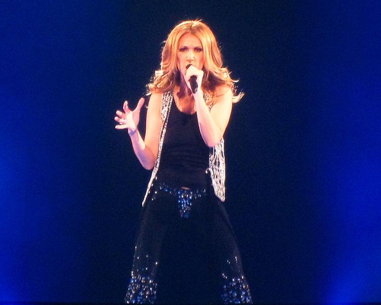 Celine Dion performing onstage