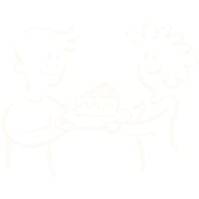 Two people sharing cake.