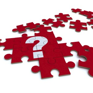 Red question mark puzzle