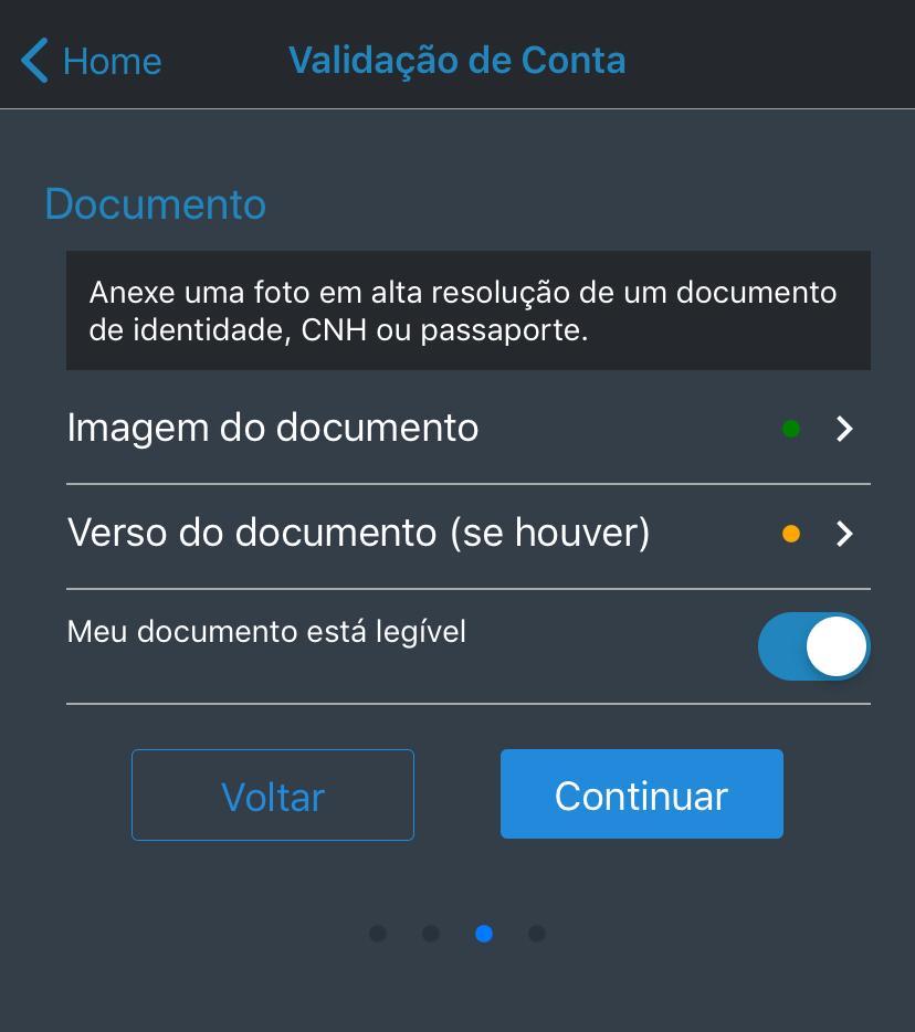 Dados para validação de conta Coinext