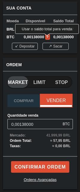 Interface plataforma Coinext - usar saldo para venda