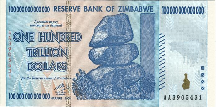 Exemplo de moeda - antiga nota do Zimbabwe