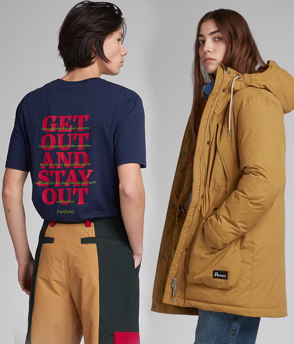 Menswear and Womenswear models posing with Penfield jacket and t-shirt in beige and blue.