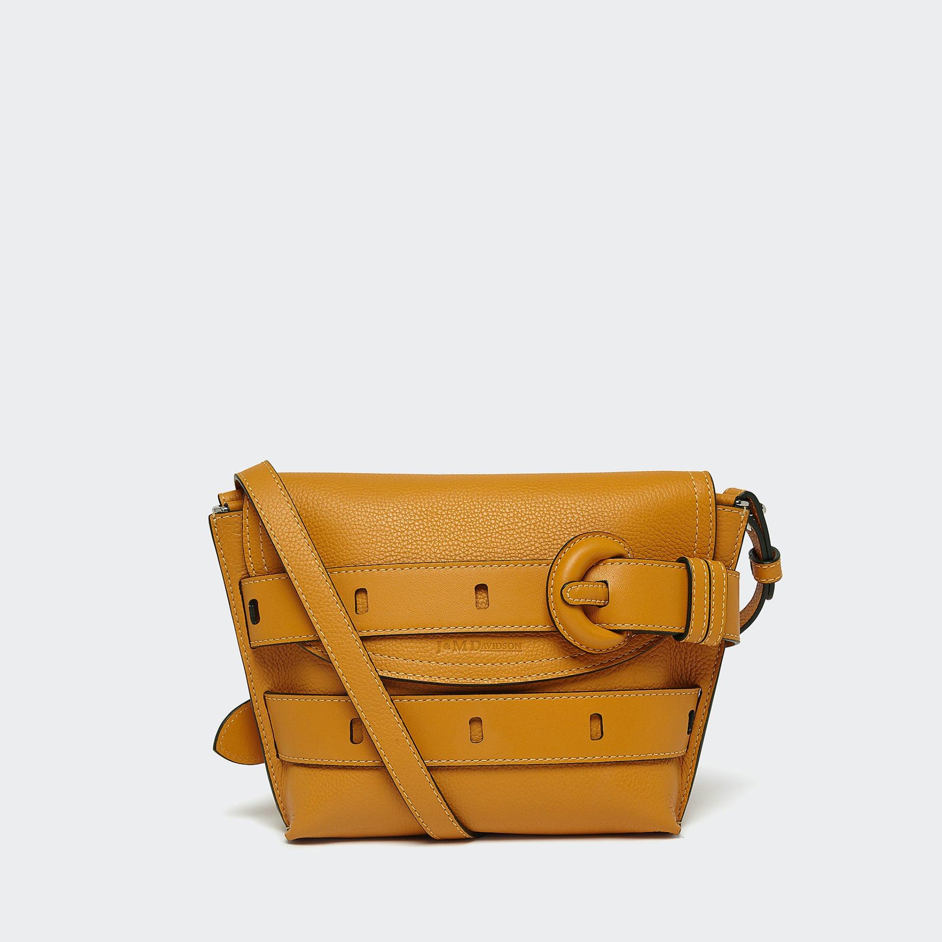 J&M mustard yellow small handbag from the front