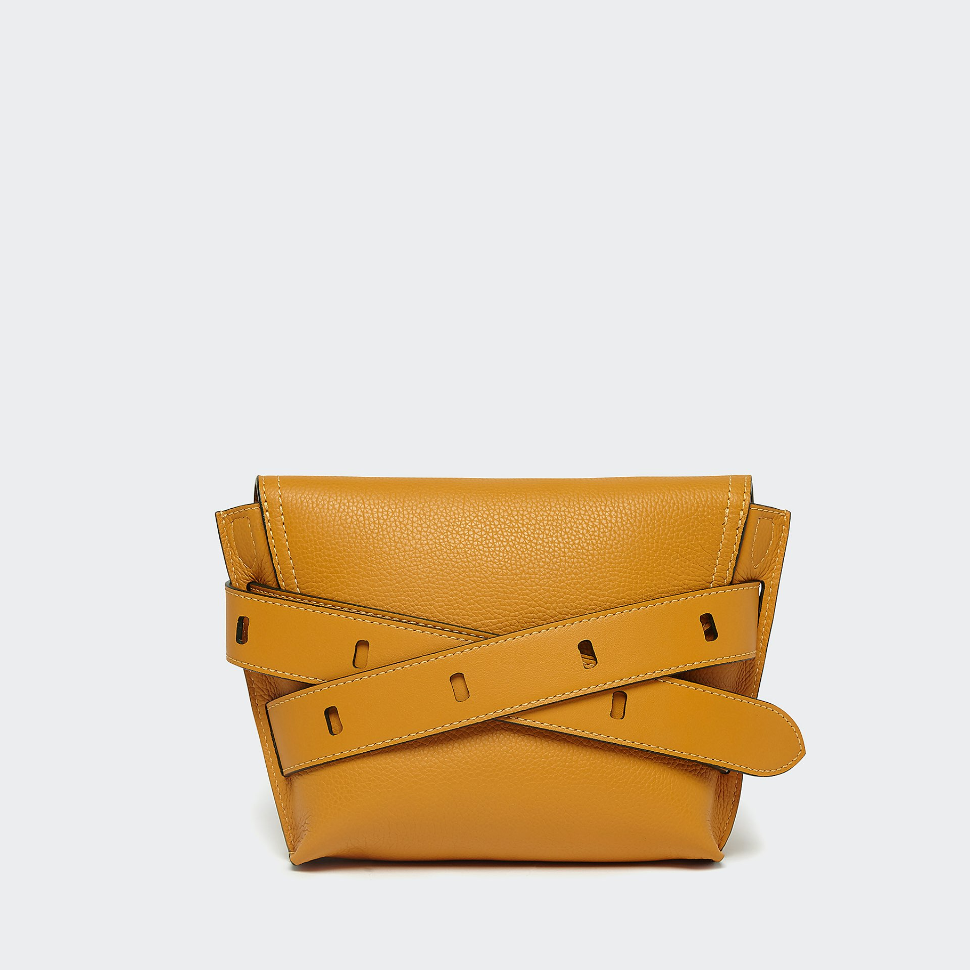 J&M mustard yellow small handbag from the back